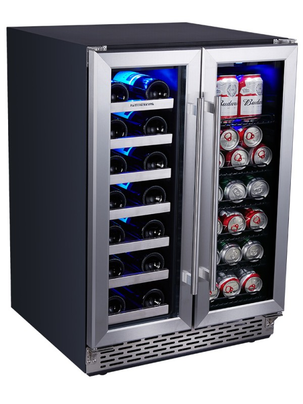 24 Inch Built In Dual Zone Wine and Beverage Cooler Fridge Under Counter Wine and Beer or Drink Fridge