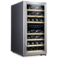 16 Inch Wine Cellar Wine Refrigerator Dual Zone Wine Cooler Fridge 33 Bottle Wine Fridge Freestanding Wine Cooler Cabinet