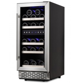 15 Inch Built In Wine Cooler 29 Bottle Under Counter Wine Cooler Refrigerator Dual Zone Wine Cooler Integrated Wine Cabinet