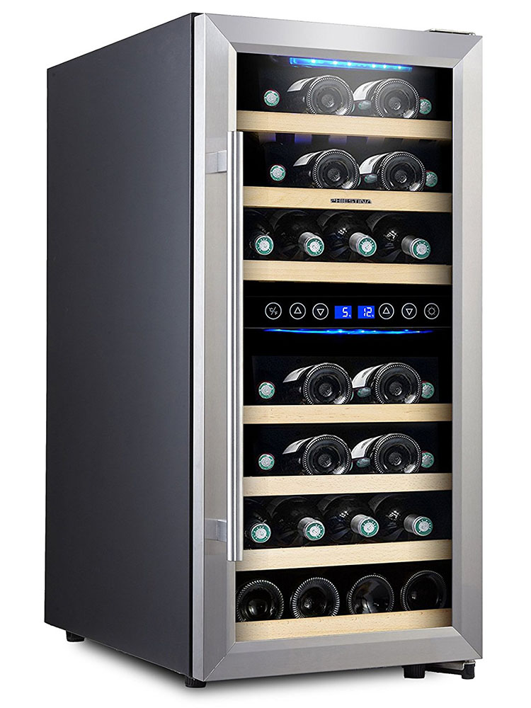 Phiestina 16 Inch Wine Cellar Built In Wine Refrigerator Dual Zone Wine Cooler Fridge Under Counter Wine Fridge Cabinet Freestanding Wine Cooler Cabinet